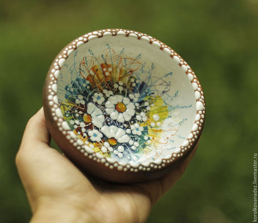 Пиалы ручной работы. Ярмарка Мастеров - ручная работа. Купить Керамическая  тарелка миска пиала Ромашки  (майолика). Handmade.