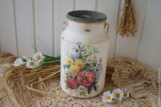 """Экстерьер и дача ручной работы. Ярмарка Мастеров - ручная работа. Купить """"Летний букет""""-Бидон. Handmade. Белый, ваза для сухоцветов"""