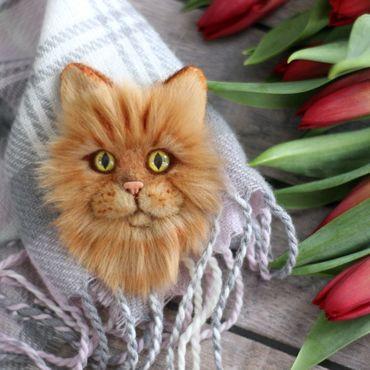 """Украшения ручной работы. Ярмарка Мастеров - ручная работа Брошка ` Рыжий кот"""". Брошь по фото. Handmade."""