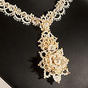 Украшения handmade. Livemaster - original item Drops the Author`s marvelous Wedding Pendant Necklaces frivolite e. Handmade.