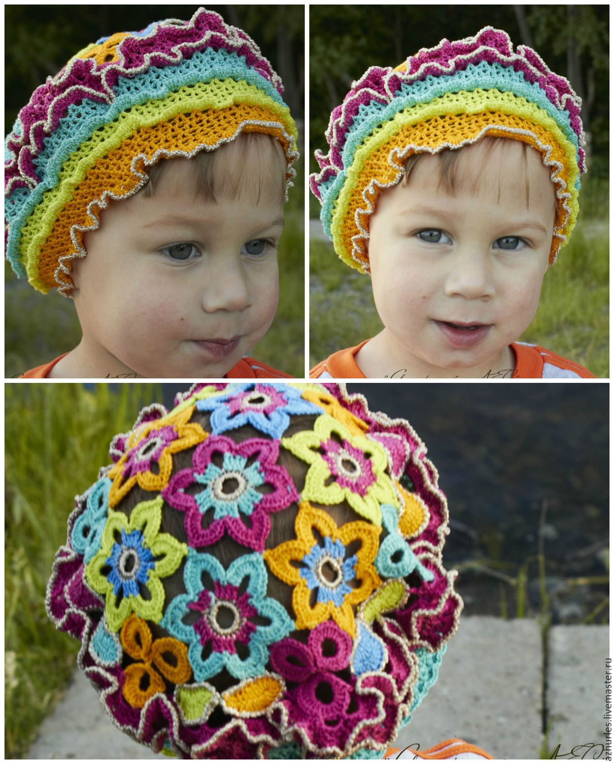 9d01ccf4c28 Summer knitted baby hat beret made of cotton for girl Bright colors ...