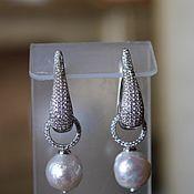 Украшения handmade. Livemaster - original item Earrings with cubic Zirconia and pearls Kasumi like. Handmade.