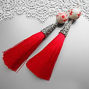 Украшения handmade. Livemaster - original item Earrings tassels Red with porcelain beads. Handmade.