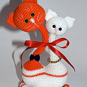 Сувениры и подарки handmade. Livemaster - original item Knitted cat. Gift for Valentine`s Day. Handmade.
