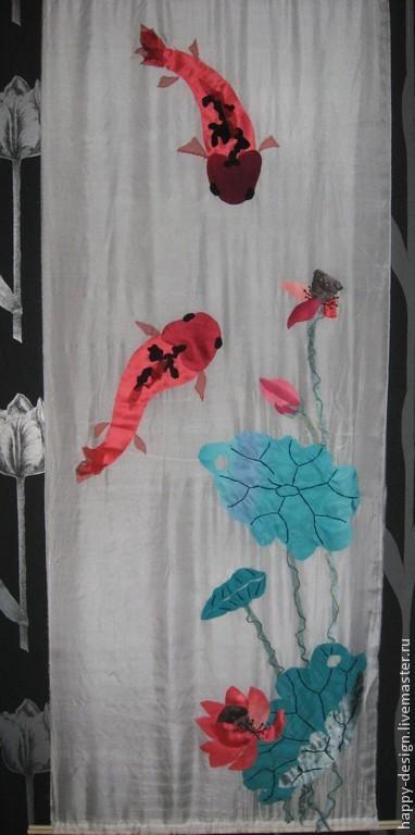 Пейзаж ручной работы. Ярмарка Мастеров - ручная работа. Купить Лотос и карпы кои. Handmade. Панно, текстиль, лоскут