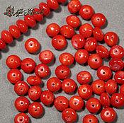 Материалы для творчества handmade. Livemaster - original item Red coral beads rondelle smooth, 6h4 mm. Handmade.