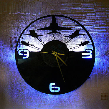For home and interior handmade. Livemaster - original item Wall clock with led light from the aircraft plate. Handmade.