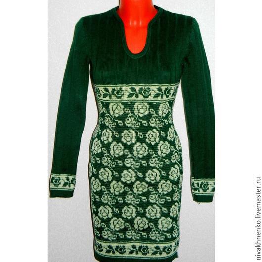 Платья ручной работы. Ярмарка Мастеров - ручная работа. Купить Вязаное платье теплое Розочки. Handmade. Вязание на машине