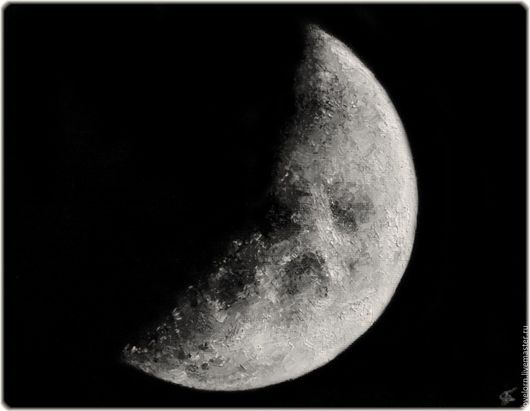"""Пейзаж ручной работы. Ярмарка Мастеров - ручная работа. Купить Картина """"Луна"""". Handmade. Чёрно-белый, луна, картина"""