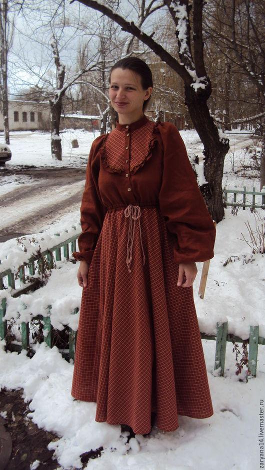 Платья ручной работы. Ярмарка Мастеров - ручная работа. Купить Платье с клетчатой кокеткой йодовое. Handmade. Красивое платье