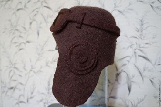 """Шапки ручной работы. Ярмарка Мастеров - ручная работа. Купить Шапка шлем """"У-лётный!"""". Handmade. Коричневый, теплая шапка"""