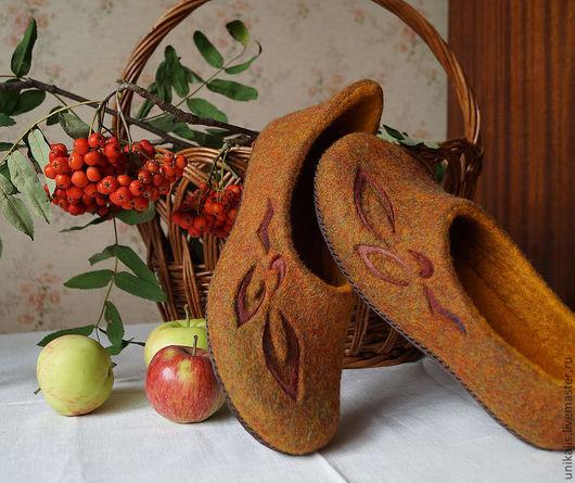 """Обувь ручной работы. Ярмарка Мастеров - ручная работа. Купить Валяные тапочки """"Осенний шарм"""". Handmade. Валяные тапочки"""
