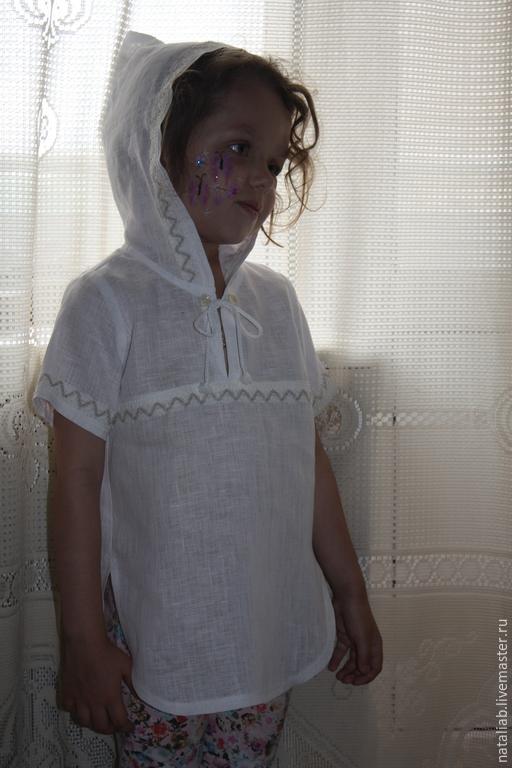Одежда для девочек, ручной работы. Ярмарка Мастеров - ручная работа. Купить Детская туничка (из тонкого льна). Handmade. Белый