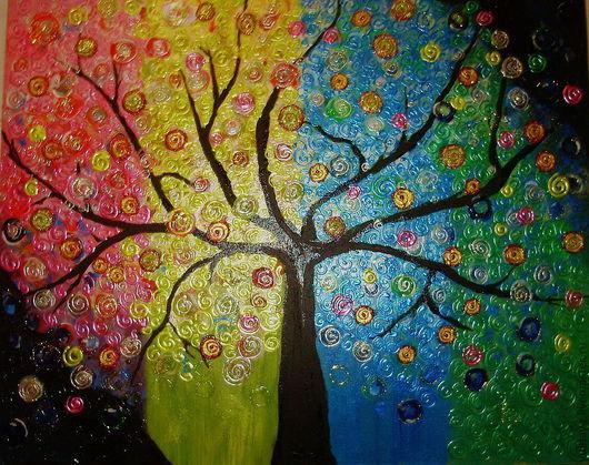 Фантазийные сюжеты ручной работы. Ярмарка Мастеров - ручная работа. Купить Чудесное дерево  Картина акрилом на оргалите. Handmade. Дерево