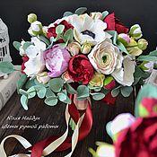 Цветы и флористика ручной работы. Ярмарка Мастеров - ручная работа Букет невесты растрепыш 35 см с цветами из полимерной глины. Handmade.
