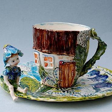 """Посуда ручной работы. Ярмарка Мастеров - ручная работа """"Сказочный луг"""" Чашка и блюдо. Handmade."""