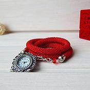 """Украшения ручной работы. Ярмарка Мастеров - ручная работа Красные наручные часы из бисера """"Внимание"""". Handmade."""