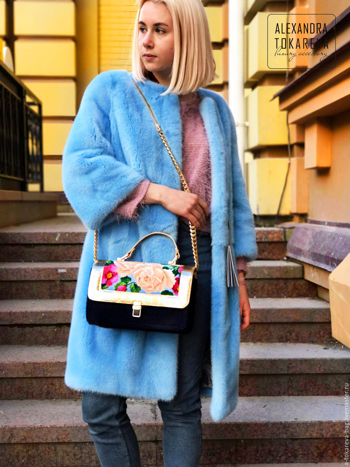 Exclusive bag made of genuine fur pony embroidered beaded Roses on, Classic Bag, Kiev,  Фото №1