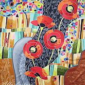 """Аксессуары ручной работы. Ярмарка Мастеров - ручная работа Атласный платок """"Россыпь самоцветов"""". Handmade."""