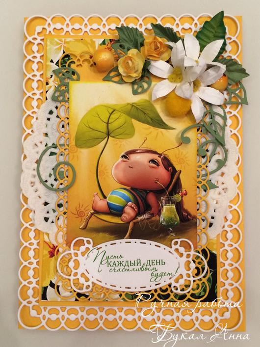 """Открытки для женщин, ручной работы. Ярмарка Мастеров - ручная работа. Купить Открытка """"Чудесный день"""". Handmade. Разноцветный, открытка для девушки"""