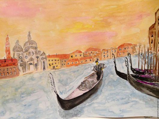 Город ручной работы. Ярмарка Мастеров - ручная работа. Купить Венеция. Handmade. Комбинированный, венеция, рисунок, подарок, для дома