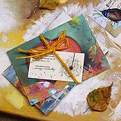 Открытки ручной работы. Ярмарка Мастеров - ручная работа Набор открыток Оранжевый. Handmade.