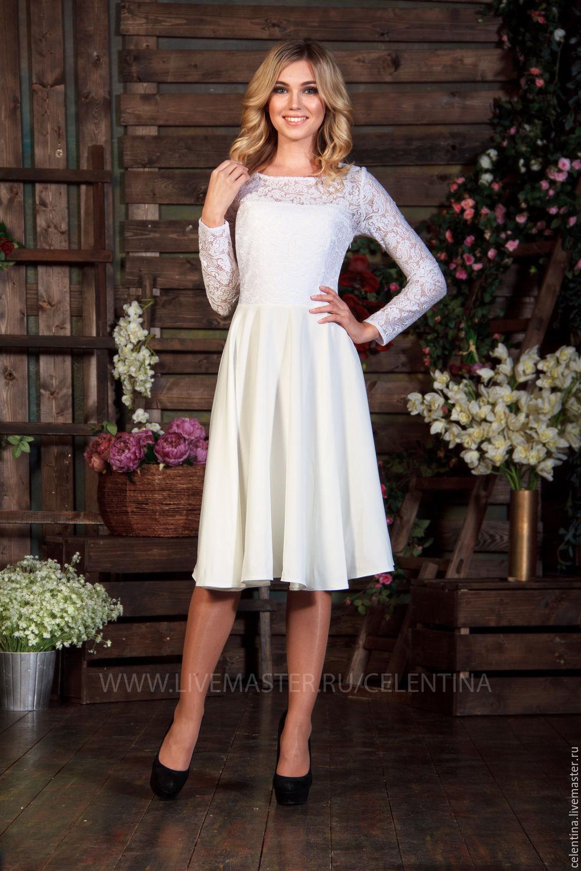 Кружевное вечернее платье до колен