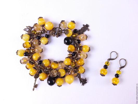 Браслеты ручной работы. Ярмарка Мастеров - ручная работа. Купить Браслет с желтым и черным агатом. Handmade. Комбинированный, браслет из натуральных