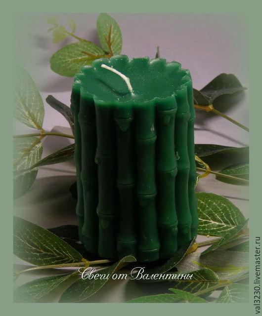 Свечи ручной работы. Ярмарка Мастеров - ручная работа. Купить Свеча «Бамбуковое счастье». Handmade. Зеленый, свеча, парафин, отдушка