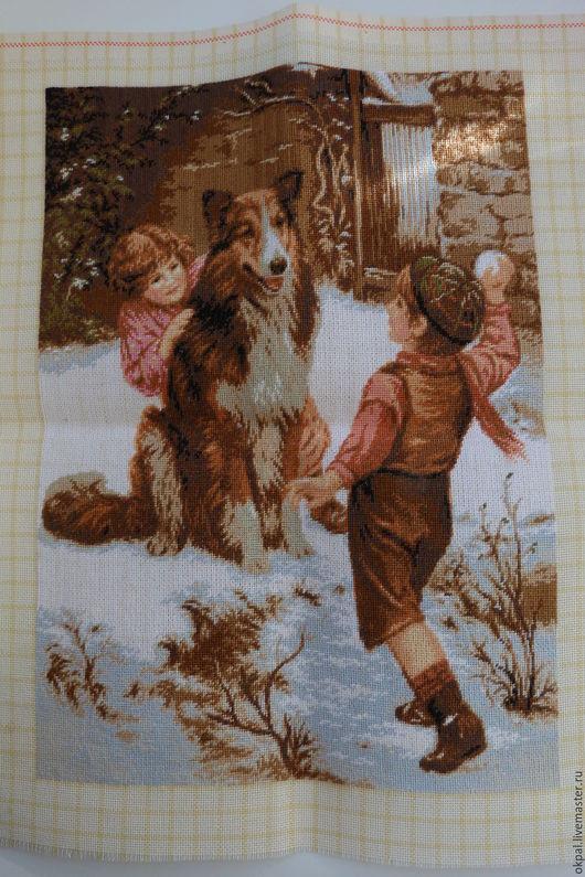 Животные ручной работы. Ярмарка Мастеров - ручная работа. Купить Игра в снежки. Handmade. Комбинированный, дети с собакой, Гобелен