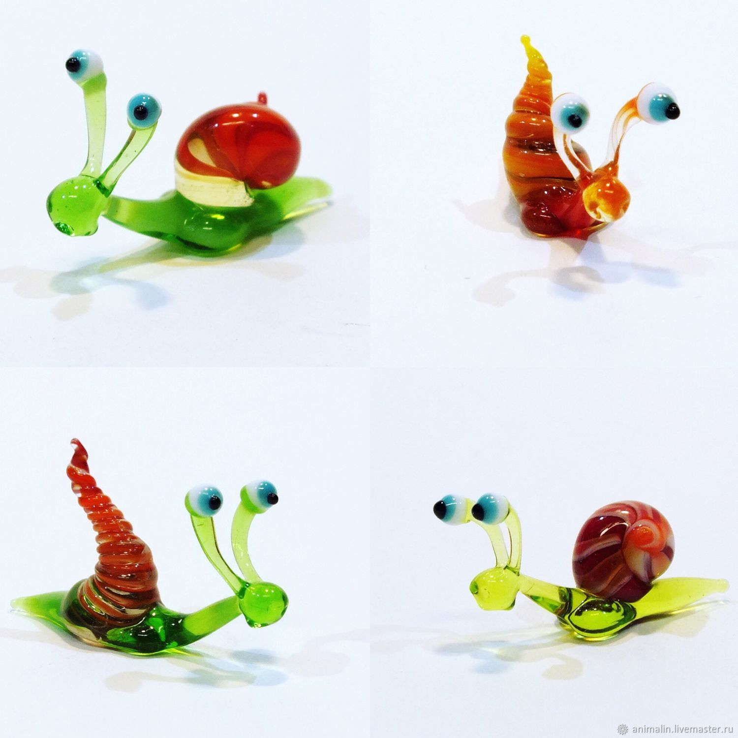 Collectible micro figurine made of colored glass Snail Baba Zina, Miniature figurines, Moscow,  Фото №1