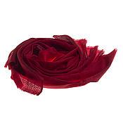 Аксессуары ручной работы. Ярмарка Мастеров - ручная работа Двухцветный палантин из кашемира модного оттенка Aurora red. Handmade.