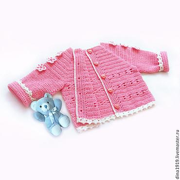 Работы для детей, ручной работы. Ярмарка Мастеров - ручная работа вязаная кофта для девочки кофточка детская вязаная розовый. Handmade.