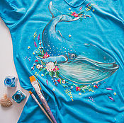 Одежда handmade. Livemaster - original item t-shirt Turquoise sperm whale. Handmade.