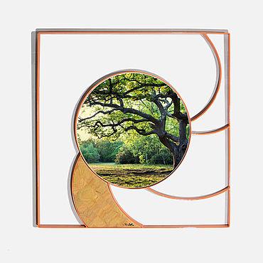 Для дома и интерьера ручной работы. Ярмарка Мастеров - ручная работа Круглое зеркало Wirbel в металлической прямоугольной раме.. Handmade.