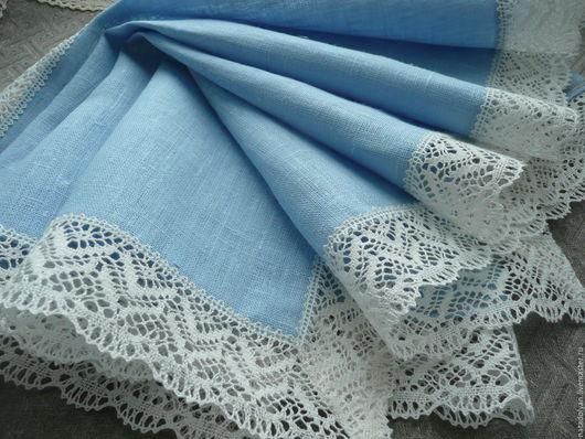 """Текстиль, ковры ручной работы. Ярмарка Мастеров - ручная работа. Купить Дорожка льняная """" Нежный голубой"""" В наличии!. Handmade."""