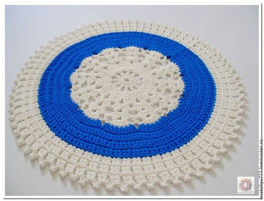 Текстиль, ковры ручной работы. Ярмарка Мастеров - ручная работа. Купить Ковер ручной работы вязаный из шнура Снежинка малая. Handmade.