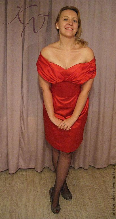 """Платья ручной работы. Ярмарка Мастеров - ручная работа. Купить Красное коктейльное платье""""Шёлковый бриз"""". Handmade. Ярко-красный"""