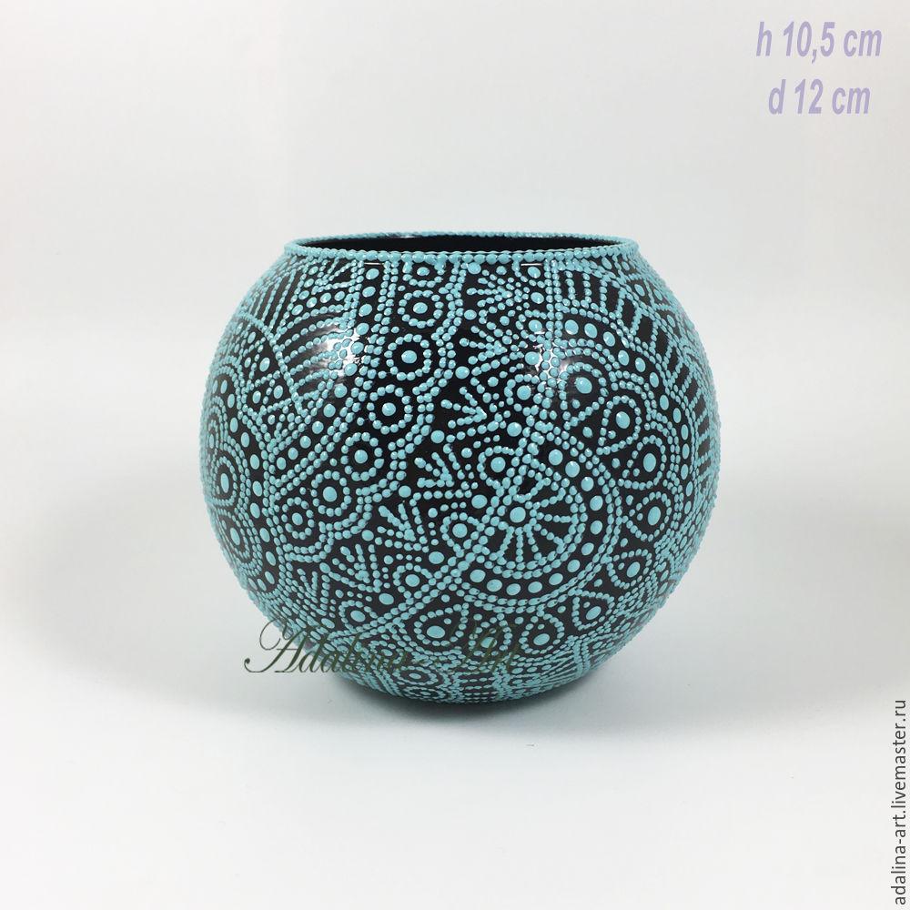 Ваза для цветов УНДИНА вазочка Точечная роспись