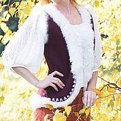 Одежда ручной работы. Ярмарка Мастеров - ручная работа Жилет с белой меховой обтачкой. Handmade.
