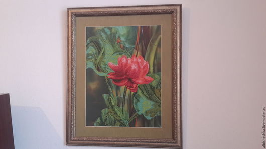 """Картины цветов ручной работы. Ярмарка Мастеров - ручная работа. Купить Картина бисером """"Аленький цветочек"""". Handmade. Зеленый, бисер"""