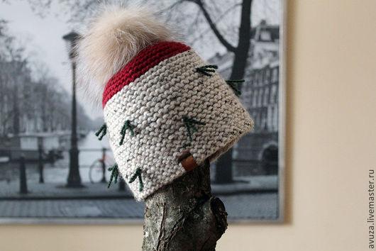 """Шапки ручной работы. Ярмарка Мастеров - ручная работа. Купить Шапка вязаная """"Березка"""". Handmade. Крупная вязка, зима, мех"""