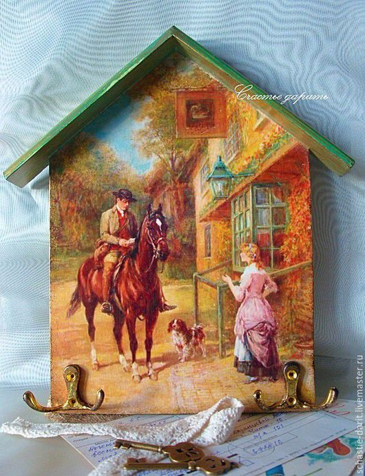 Прихожая ручной работы. Ярмарка Мастеров - ручная работа. Купить Ключница романтика рыжая. Handmade. Рыжий, ключница, девушка, лошадь