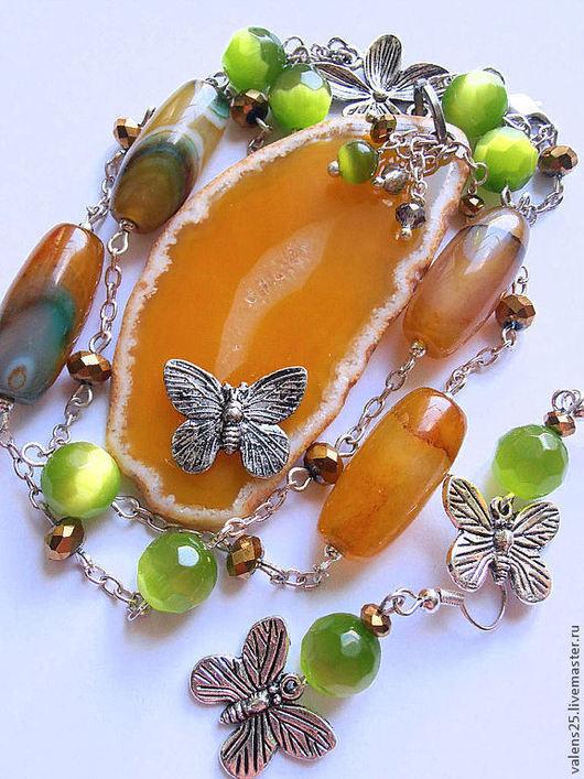 Колье, бусы ручной работы. Ярмарка Мастеров - ручная работа. Купить Колье «Солнечные бабочки». Handmade. Желтый, бабочки