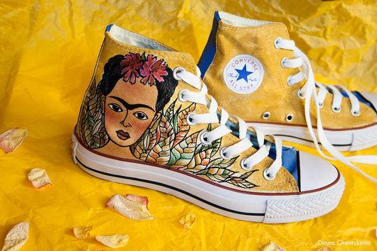 Кеды `Моя Фридуччи`. Кеды Конверс Converse с росписью. Роспись кед. Фрида Кало. Frida Kahlo. Диана Чентукова. Diana Chentukova. #ShoesDream. Shoes Dream