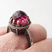 Винтаж handmade. Livemaster - original item Berry ring with faceted ruby, 925 silver, gilt, filigree. Handmade.