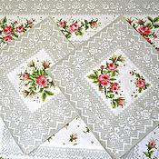 Для дома и интерьера handmade. Livemaster - original item Tablecloth and two napkins made of cotton Roses. Handmade.