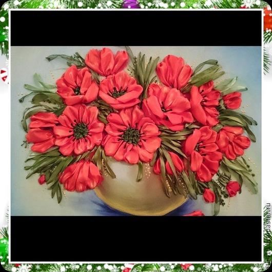 Картины цветов ручной работы. Ярмарка Мастеров - ручная работа. Купить Маки в вазе.. Handmade. Вышивка, вышивка на принте