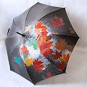 Аксессуары handmade. Livemaster - original item Umbrella with hand-painted Autumn leaves black umbrella with a picture. Handmade.