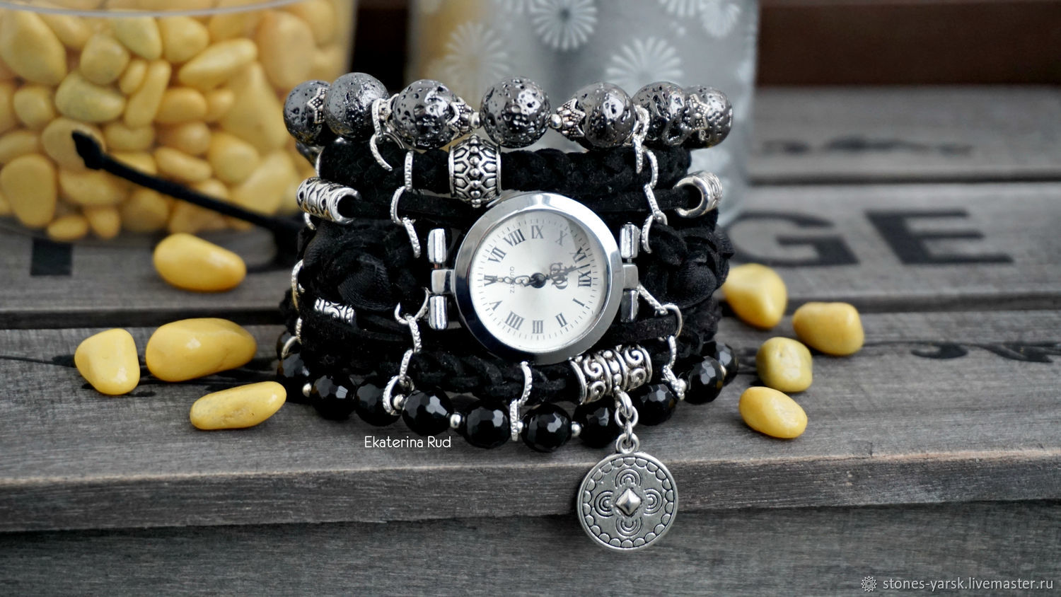 Women's black wrist watch with stones ' Business time', Watches, Moscow,  Фото №1